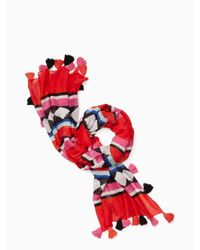Kate Spade   Red Geo Border Oblong Scarf   Lyst