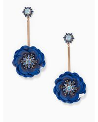 Kate Spade - Blue Snowy Nights Linear Statement Earrings - Lyst