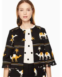 Kate Spade - Multicolor Embroidered Camel Coat - Lyst