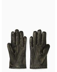 Kate Spade - Black In Bloom Leather Gloves - Lyst