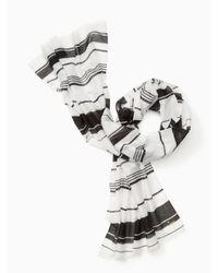 kate spade new york | Black Berber Stripe Oblong Scarf | Lyst