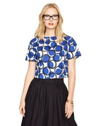 kate spade new york - Blue Stamped Dots Crop Top - Lyst