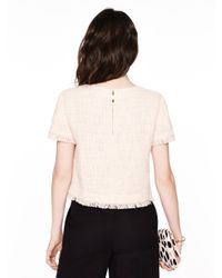 kate spade new york - Pink Tweed Fringe Short Sleeve Top - Lyst