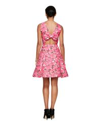kate spade new york - Pink Rose Brocade Open Back Dress - Lyst