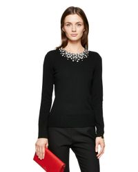 kate spade new york | Black Embellished Sweater | Lyst