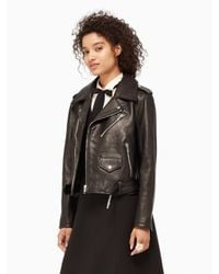 kate spade new york | Black Leather Moto Jacket | Lyst