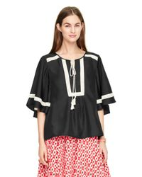 kate spade new york | Black Crochet Trim Top | Lyst