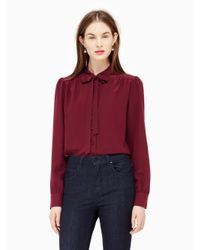 kate spade new york | Multicolor Bow Tie Blouse | Lyst