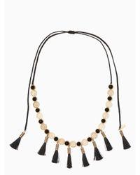 kate spade new york | Black Moroccan Tile Tassel Statement Necklace | Lyst