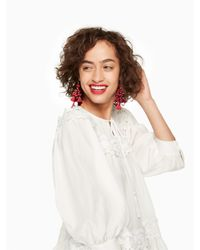 Kate Spade - Red Pretty Poms Tassel Statement Earrings - Lyst