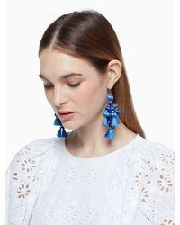 kate spade new york - Blue Pretty Poms Tassel Statement Earrings - Lyst