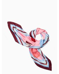 Kate Spade - Pink Travel Stickers Square Scarf - Lyst