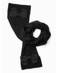 kate spade new york | Black Muffler With Grosgrain Bow | Lyst