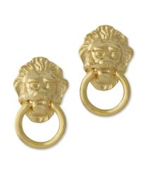 Kenneth Jay Lane | Metallic Lion Head Earrings | Lyst