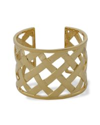 Kenneth Jay Lane | Metallic Polished Gold Basketweave Cuff | Lyst