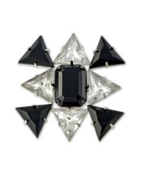 Kenneth Jay Lane   Metallic Crystal And Jet Stones Brooch   Lyst