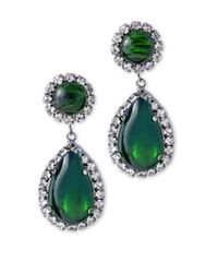 Kenneth Jay Lane | Green Crystal & Emerald Cabochon Drop Clip Earring | Lyst
