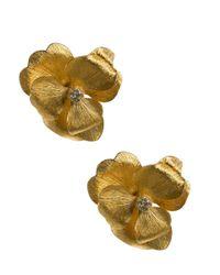 Kenneth Jay Lane | Metallic Satin Gold Cluster Flower Clip Earring | Lyst