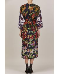 Anntian - Multicolor Simple Flower Silk Dress - Lyst