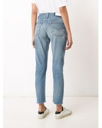 Re/done - Blue Relaxed Cropped Jeans - Lyst