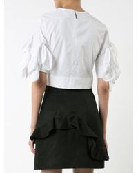 MSGM - White Crop Top With Ribbons On Sleeves - Lyst