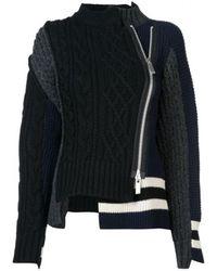 Sacai - Black Zip-up Patch Knit Sweater - Lyst