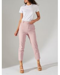 Kirna Zabete Pink Claudia High Waisted Slim Leg Cuffed Pants
