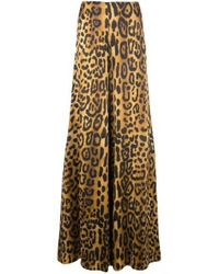 Kirna Zabete Multicolor High Wasted Satin Wide Leg Leopard Print Pants