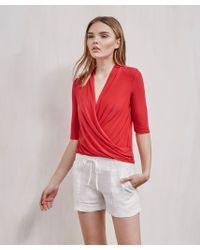 Krisa - Red Surplice Half Sleeve Top - Lyst