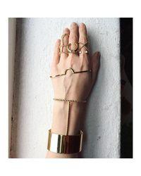 Lady Grey - Metallic Notch Palm Cuff In Silver - Lyst