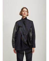 Sacai - Black Glencheck Pinstripe Panel Jacket - Lyst