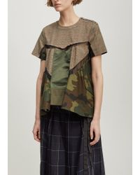 Sacai - Natural Glencheck Stripe Short Sleeve Top - Lyst