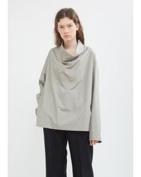 Lemaire - Gray Cowl Neck Poplin Top - Lyst