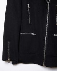 Alexander Wang - Blue Wool-blend Moto Jacket - Lyst