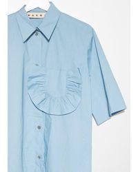 Marni - Blue Ruffle Detail Shirt - Lyst