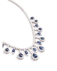 LC COLLECTION - Metallic Diamond Sapphire Platinum And Silver Necklace - Lyst