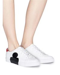Pedder Red - White 'joe' Heart Clover Reverse Appliqué Leather Sneakers - Lyst