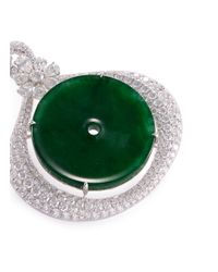 LC COLLECTION - Metallic Diamond Jade 18k Gold Disc Pendant - Lyst