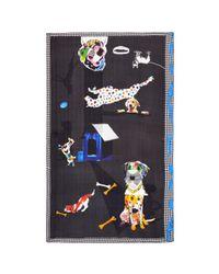 Pashma - Black Houndstooth Border Dog Collage Print Silk Scarf - Lyst