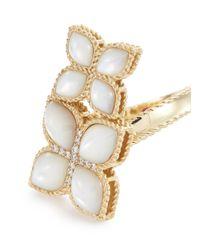 Roberto Coin - Metallic 'princess Flower' Diamond Pearl 18k Rose Gold Ring for Men - Lyst