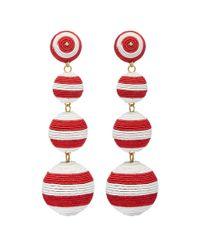 Kenneth Jay Lane - Red Stripe Threaded Sphere Clip Drop Earrings - Lyst