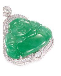 LC COLLECTION - Metallic Diamond Jade 18k White Gold Buddha Pendant - Lyst
