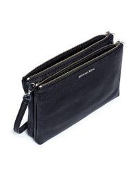 Michael Kors - Black 'adele' Double Zip Leather Crossbody Bag - Lyst