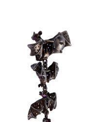 Lydia Courteille - Multicolor Diamond Sapphire Rhodium 18k Gold Bat Drop Earrings - Lyst