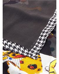 Pashma - Black Houndstooth Border Dog Collage Print Silk Scarf - Lyst