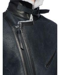 The Viridi-anne - Black Colourblock Sheepskin Shearling Bomber Jacket for Men - Lyst
