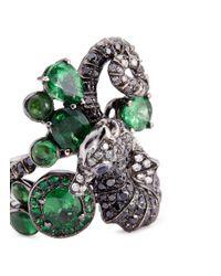 Wendy Yue - Metallic Diamond Tsavorite Sapphire 18k White Gold Seahorse Ring - Lyst