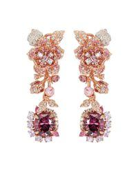 Anabela Chan - Pink 'rose' Diamond Gemstone Detachable Drop Cocktail Earrings - Lyst