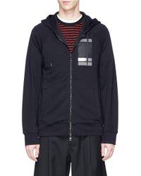 Neil Barrett - Blue Square Stripe Print Zip Hoodie for Men - Lyst