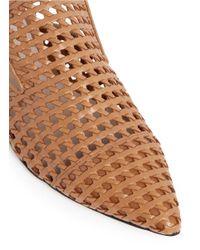 Pedder Red - Brown Woven Effect Leather Slides - Lyst